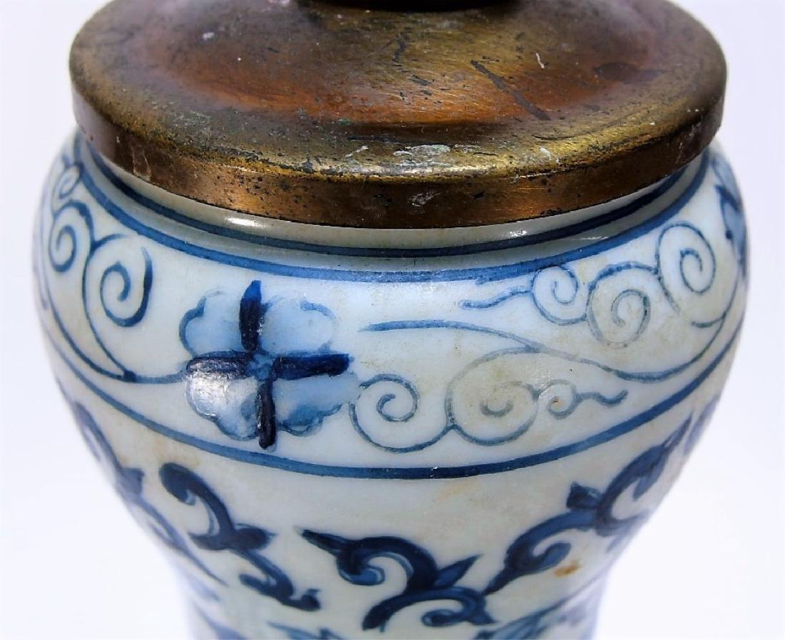 Chinese Export Blue & White Porcelain Vase Lamp - 8