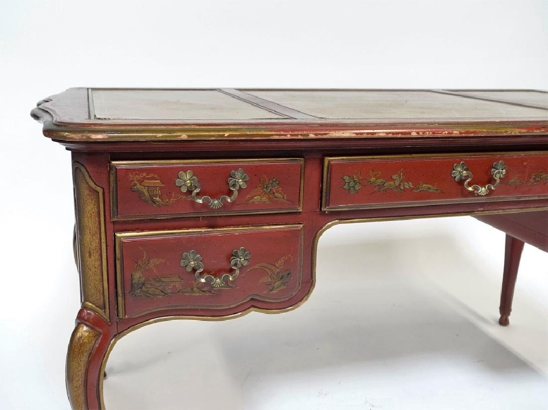 American Drexel Chinoiserie Red Lacquer Desk - 3
