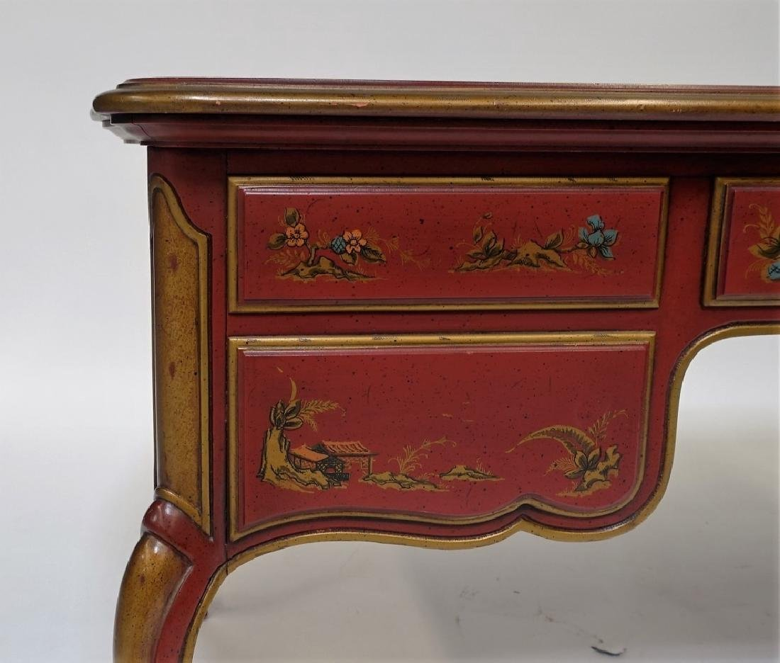 American Drexel Chinoiserie Red Lacquer Desk - 8