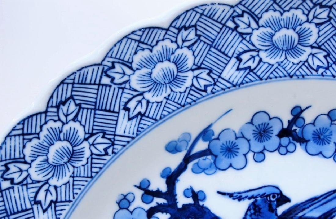 Japanese Blue & White Porcelain Avian Charger - 3