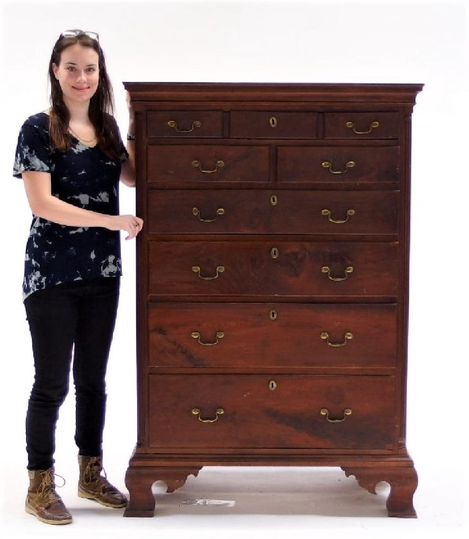 18C. Chippendale Mahogany Tall Chest of Drawers - 7