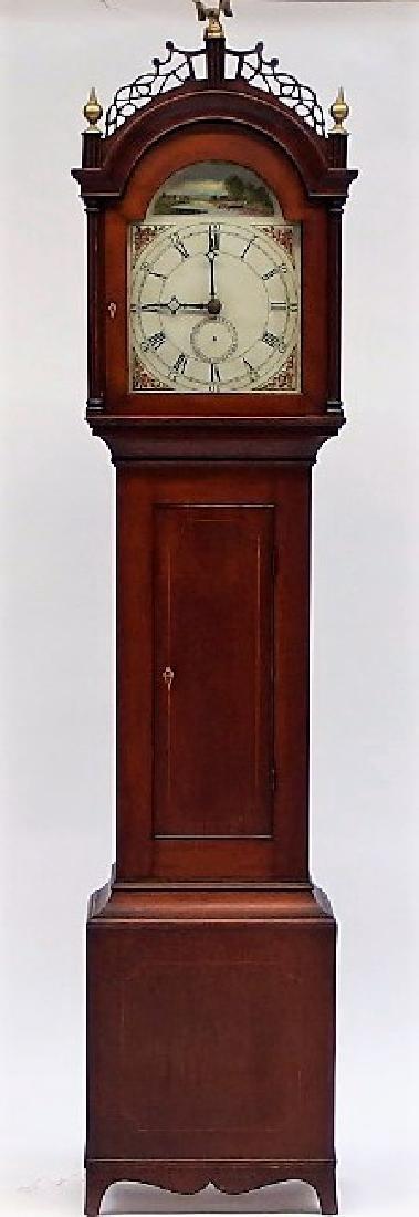 New England Mahogany Tall Case Clock