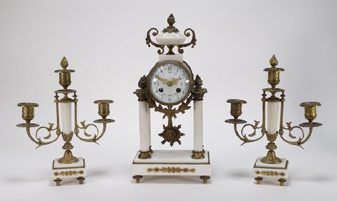 French Louis XVI Gilt Bronze Marble Portico Clock