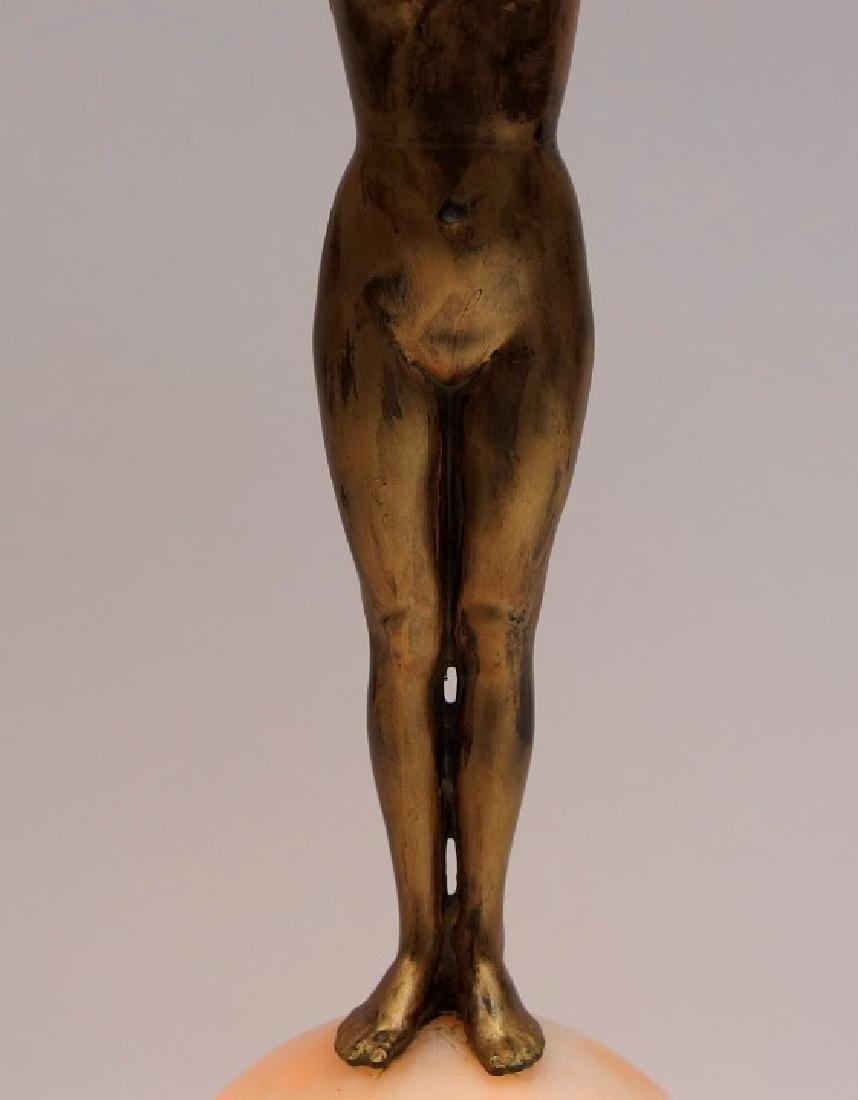 Czech Art Deco Alabaster & Patinated Metal Lamp - 3