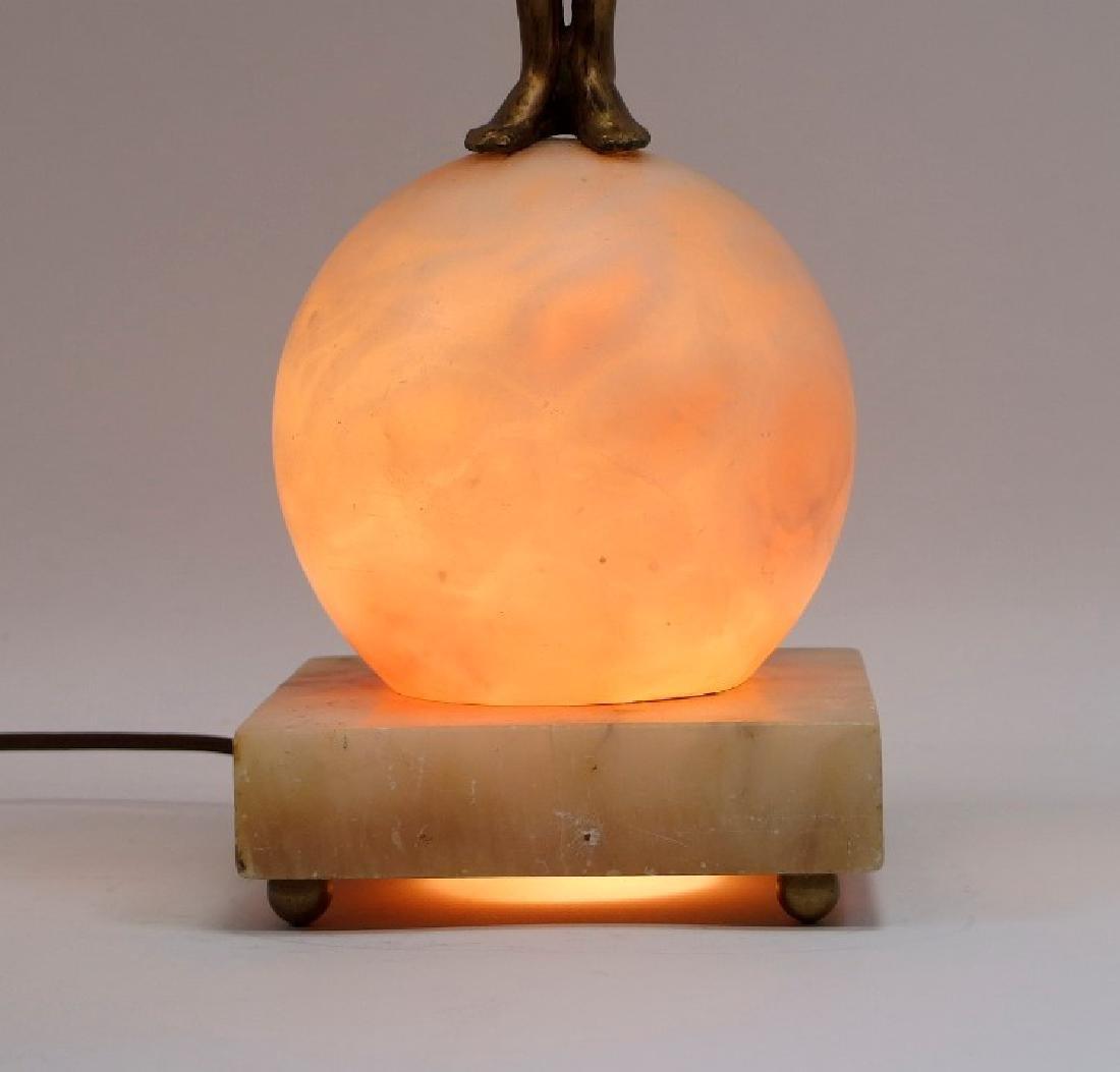 Czech Art Deco Alabaster & Patinated Metal Lamp - 4