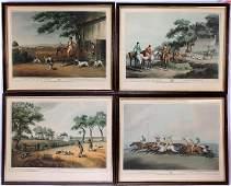 4 English Equestrian Fox & Partridge Hunting Print