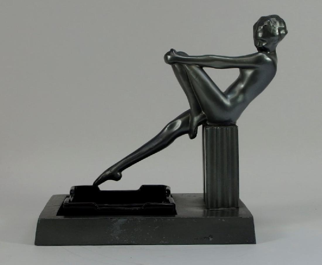 Frankart Art Deco Metal Porcelain Figural Ashtray - 2