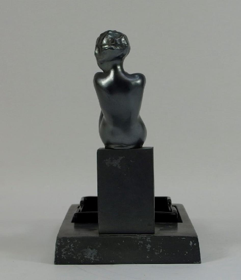 Frankart Art Deco Metal Porcelain Figural Ashtray - 3