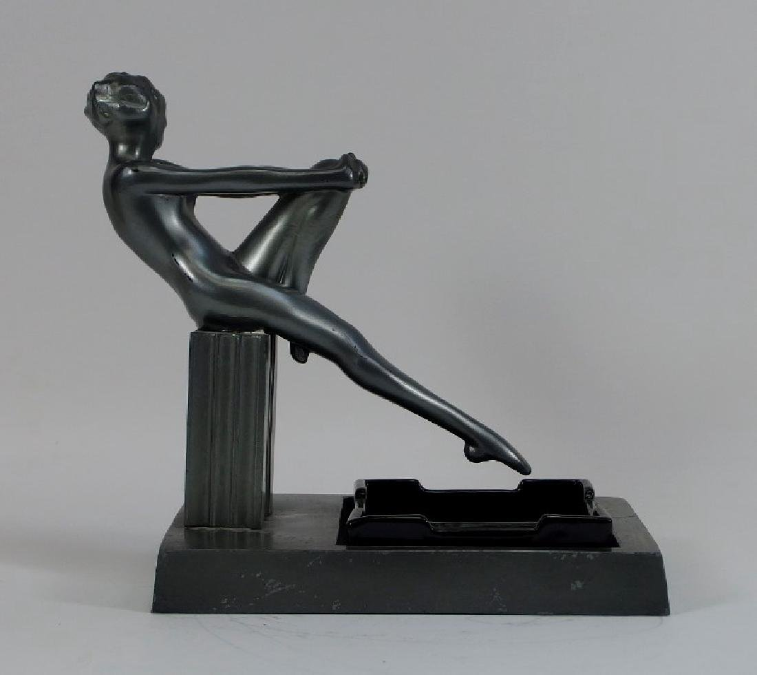 Frankart Art Deco Metal Porcelain Figural Ashtray - 4