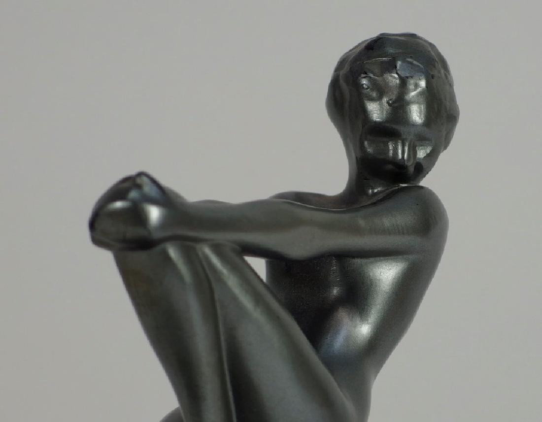 Frankart Art Deco Metal Porcelain Figural Ashtray - 5