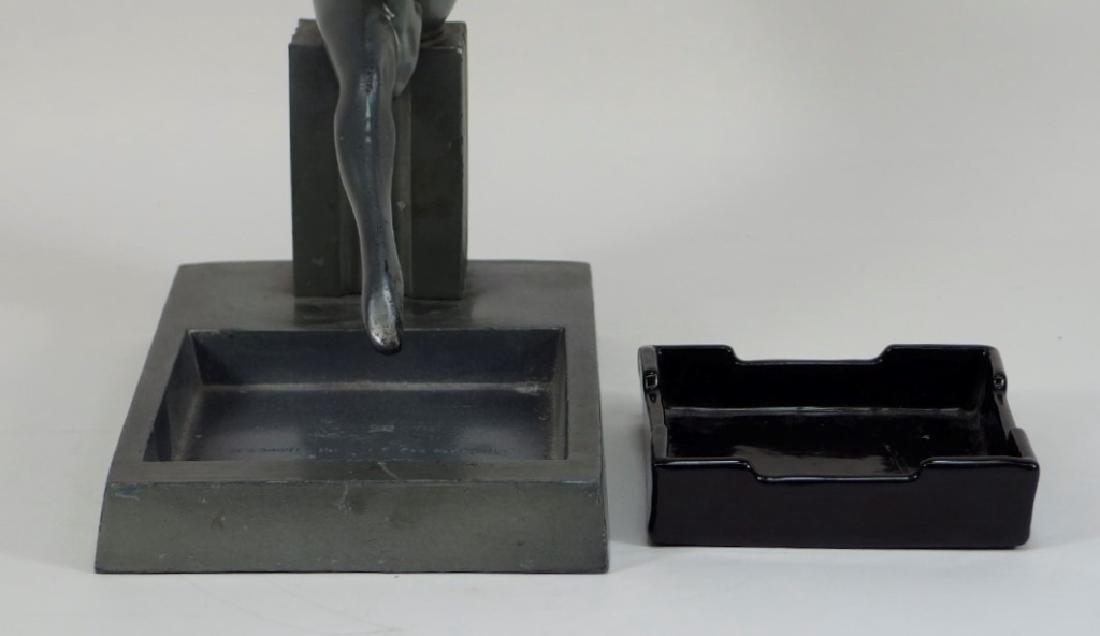 Frankart Art Deco Metal Porcelain Figural Ashtray - 6