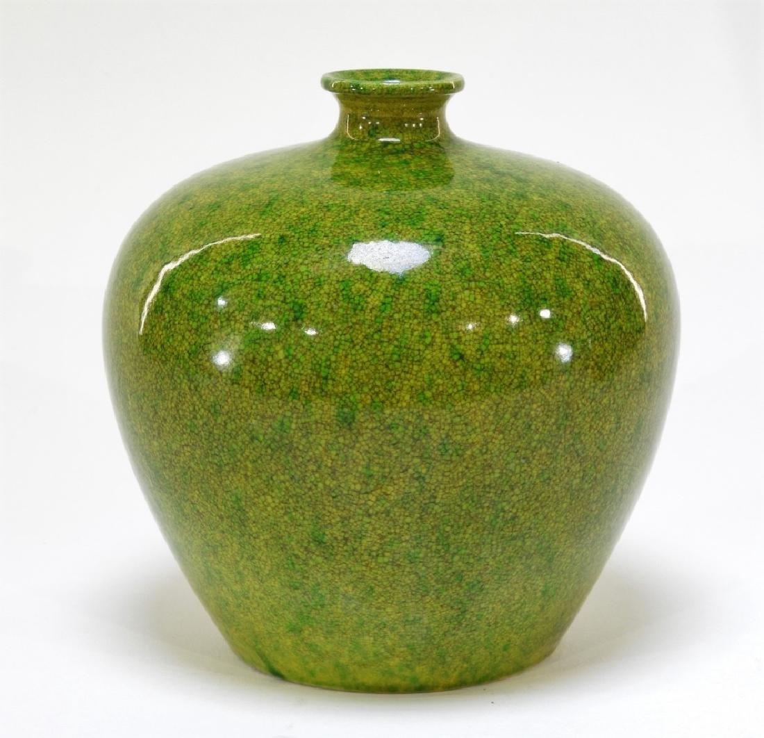 18C. Chinese Porcelain Apple Green Crackle Vase