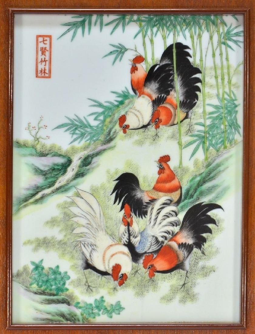 Chinese Porcelain Famille Rose Plaque of Roosters