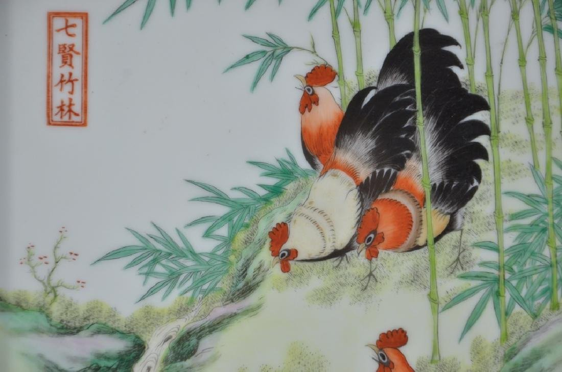 Chinese Porcelain Famille Rose Plaque of Roosters - 3