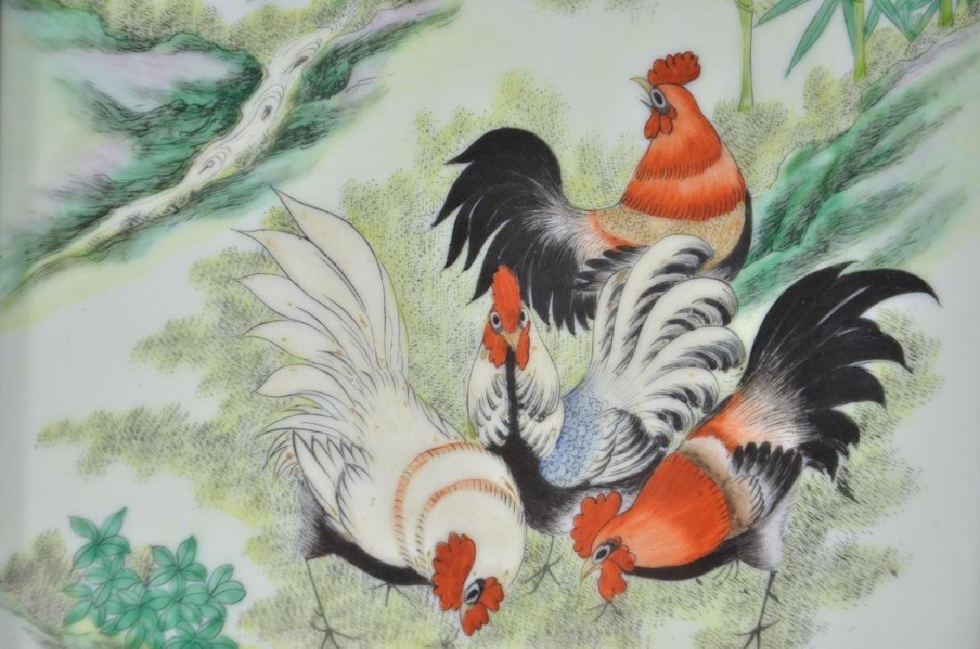Chinese Porcelain Famille Rose Plaque of Roosters - 4