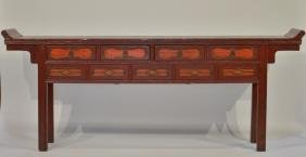 Chinese Red Lacquer Compartmented Altar Table
