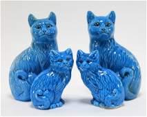 2 PR Chinese Porcelain Turquoise Glaze Cat Figures