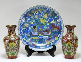 3 Chinese Cloisonne Enamel Vases and Charger