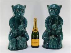 PR Chinese Porcelain Turquoise Glaze Monkeys