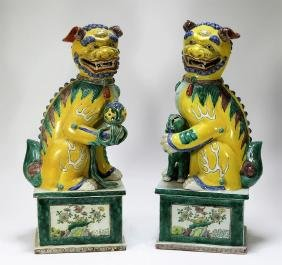 PR Chinese Porcelain Sancai Glaze Foo Lions