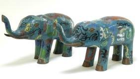 PR Chinese Cloisonne Enamel Elephant Sulptures