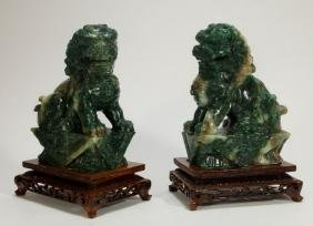 PR Chinese Carved Jadeite Foo Dog Statues