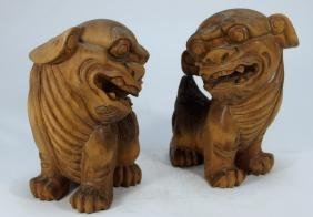PR Chinese Carved Wood Foo Lion Figures