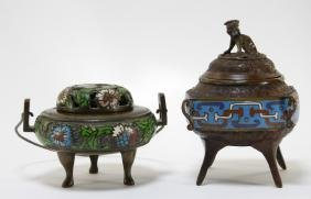 2 Chinese Champleve Diminutive Bronze Censers