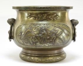 LG Antique 19C. Chinese Bronze Incised Censer
