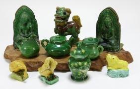 10 Chinese Sancai Glaze Pottery Figures & Vases