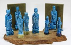 8 Chinese Porcelain Turquoise Immortal Figures