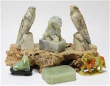 6 Chinese Carved Jade  Hardstone Articles