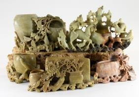 5 Chinese Carved Hardstone Scholar Articles