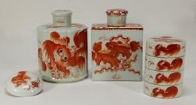 4 Chinese Porcelain Iron Red Foo Lion Articles