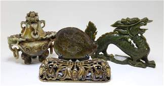 4 Chinese Carved Soapstone Archaistic Articles