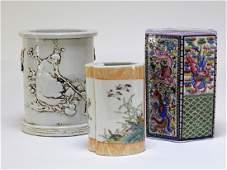 3 Chinese Qing Dynasty Porcelain Brush Pot