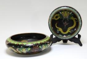 2 Chinese Cloisonne Enamel Matching Dragon Bowls
