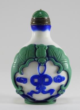 Chinese White Blue Green Peking Glass Snuff Bottle