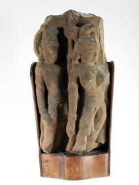 Indian Hindu Carved Stone Stele of Standing Vishnu