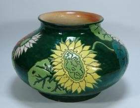 LG Japanese Pottery Floral Sunflower Squat Vase