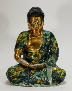 Japanese Gilt Porcelain Seated Kannon Buddha