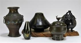 5 Japanese Bronze Champleve Mixed Metal Vessels