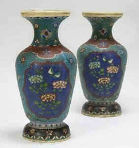 PR Japanese Meiji Period Pottery Cloisonne Vases
