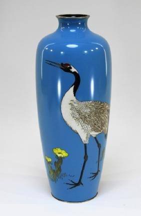 Japanese Silver Wire Cloisonne Ginbari Bird Vase