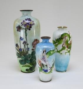 3 Japanese Ginbari Enamel Cloisonne Scenic Vases