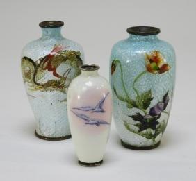 3 Japanese Silver Wireless Ginbari Cloisonne Vases