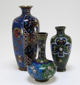 3 Japanese Meiji Cloisonne Ginbari Enamel Vases