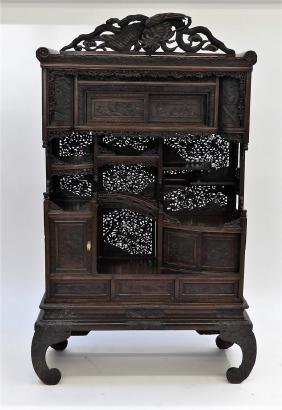 Japanese Meiji Period Carved Wood Etagere