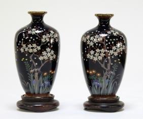 PR Japanese Silver Wire Cloisonne Diminutive Vases