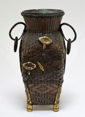 Japanese Meiji Bronze Mixed Metal Woven Vase
